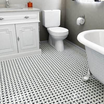 Metro Dog Bone Basket Weave Matte White and Black 10-1/2 in. x 10-1/2 in. Porcelain Mosaic Tile (7.7 sq. ft./Case)