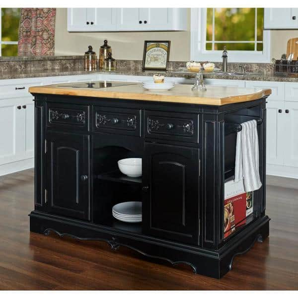 Powell Company Natural Pennfield Black Kitchen Island Granite Top 318 416 The Home Depot
