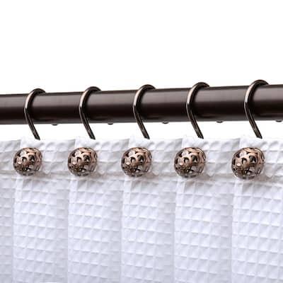 Hollow Ball Shower Curtain Hooks for Bathroom, Rust Resistant Shower Curtain Hooks Rings Oil Rubbed Bronze (Set of 12)