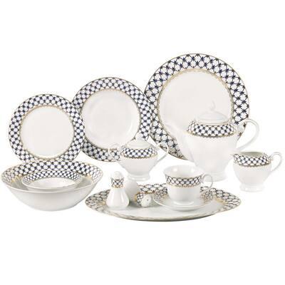 57-Piece Specialty Blue Porcelain Dinnerware Set (Service for 8)