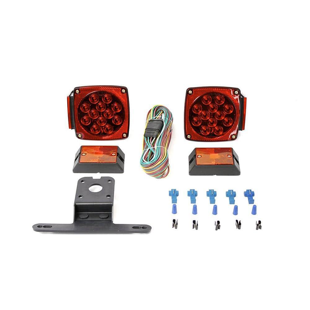 "LED Submersible Square Light Kit Trailer 80/"" /& 2 Red 2 Amber Side Marker Boat"