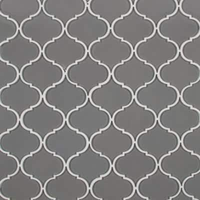 Pebble Arabesque 12.28 in. x 10.43 in. x 8mm Glossy Glass Mesh-Mounted Mosaic Tile ( 8.9 sq.ft. /case)