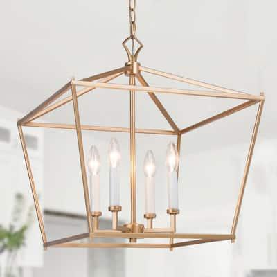 Modern Gold Chandelier 4-Light Transitional Cage Linear Kitchen Pendant Geometric Ceiling Light Fixtures