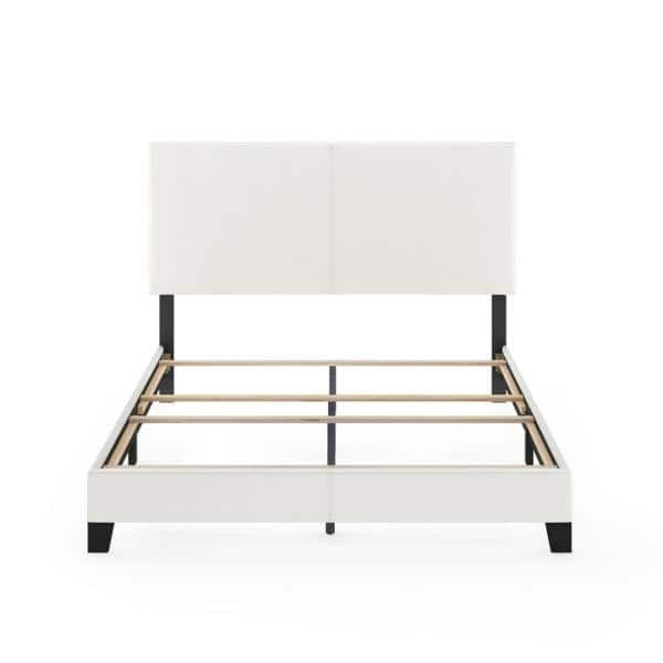 Furinno Pessac White Queen Upholstered, Upholstered Bed Frame Queen White