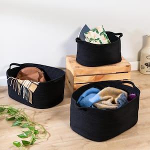 Black Cotton Coil Baskets (Set of 3)