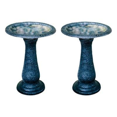 23.6 in. Tall Black with Speckled Blue Fiberstone Birdbaths with Round Pedestal and Base (Set of 2)