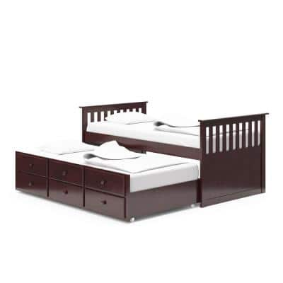 Marco Island Espresso Twin Captains Bed with Trundle and Drawers
