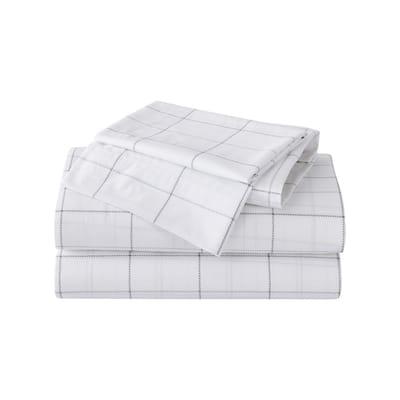 Northern Plaid 4-Piece Gray T200 Cotton Full Sheet Set
