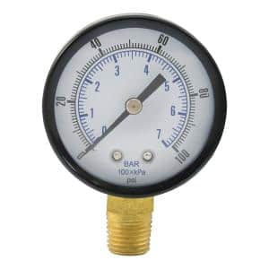 100 PSI Pressure Gauge with 3-1/2 in. Face and 1/4 in. MIP Brass Connection