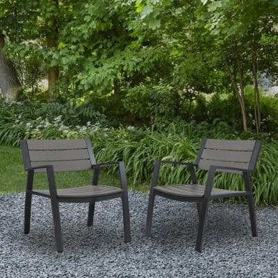 Anson 2-Piece All Weather Aluminum Outdoor Patio Casual Lawn Chairs in Gray (2-Pack)