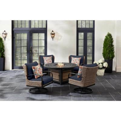 Hazelhurst 5-Piece Brown Wicker Outdoor Patio Fire Pit Seating Set with CushionGuard Midnight Navy Blue Cushions