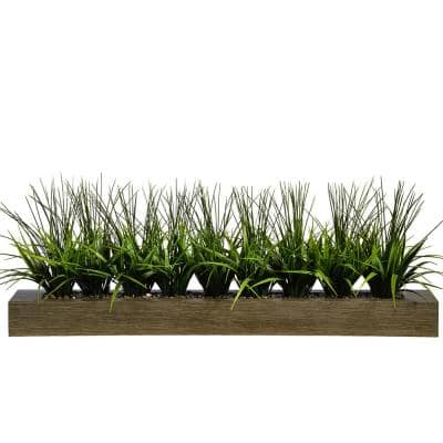 13 in. Tall Green Grass Artificial Indoor/ Outdoor Decorative Greenery in Taupe Wood Pot