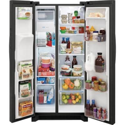 33 in. 22.3 cu. ft. Standard Depth Side by Side Refrigerator in Black Stainless Steel