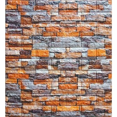 Falkirk Jura III 1/4 in. x 28 in. x 30 in. Peel & Stick Orange Grey Beige PE Foam Decorative Wall Paneling (10-Pack)