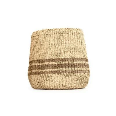 Concave Hand Woven Wicker Seagrass and Palm Leaf with Dark Pin Stripes Medium Basket