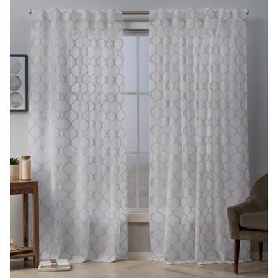 Bradford 54 in. W x 96 in. L Sheer Hidden Tab Top Curtain Panel in Blush (2 Panels)
