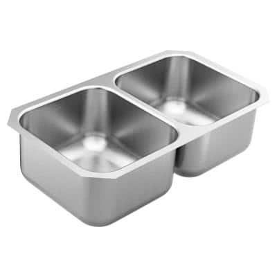 1800 Series Stainless Steel 31.75 in. Double Bowl Undermount Kitchen Sink with 9 in. Depth