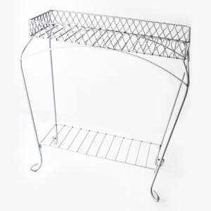 30 in. White Metal Nottingham Trough Plant Stand
