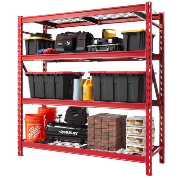 Husky Red 4 Tier Heavy Duty Industrial, Garage Tool Storage Ideas Home Depot