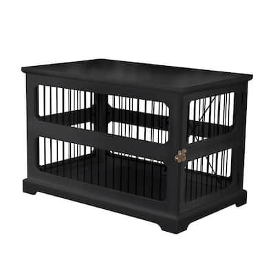 Dog Crate in Black with Slide Aside Door - Medium