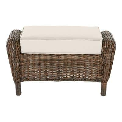 Cambridge Brown Wicker Outdoor Patio Ottoman with CushionGuard Almond Tan Cushions