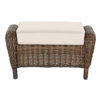 Cambridge Brown Wicker Outdoor Patio Ottoman with CushionGuard Almond Tan Cushions