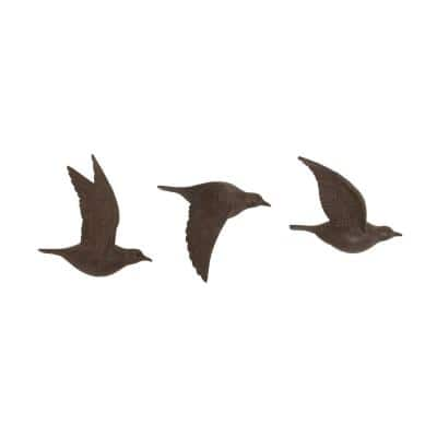 Brown Resin Farmhouse Birds Wall Decor (Set of 3)