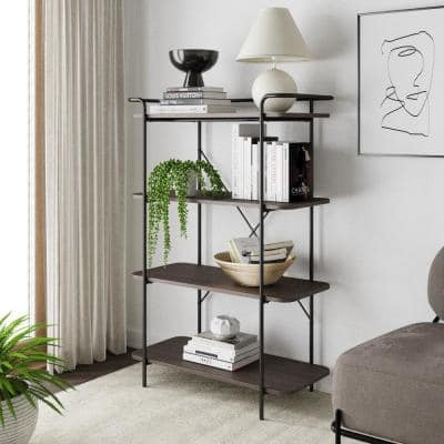Sawyer Dark Oak 4-Shelf Bookcase Small Modern Black Industrial Wood and Metal Bookshelf