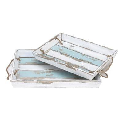 Distressed White and Cornflower Pine Wood Rectangular Trays with Jute Rope Handles (Set of 2)