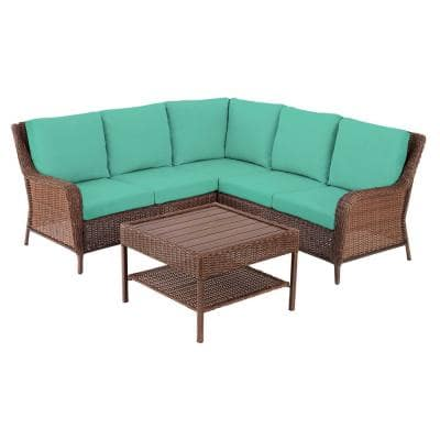 Cambridge 4-Piece Brown Wicker Outdoor Patio Sectional Sofa and Table with CushionGuard Seaglass Turquoise Cushions