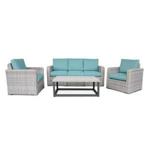 Forsyth 6-Piece Wicker Seating Set with Spa Blue Cushions