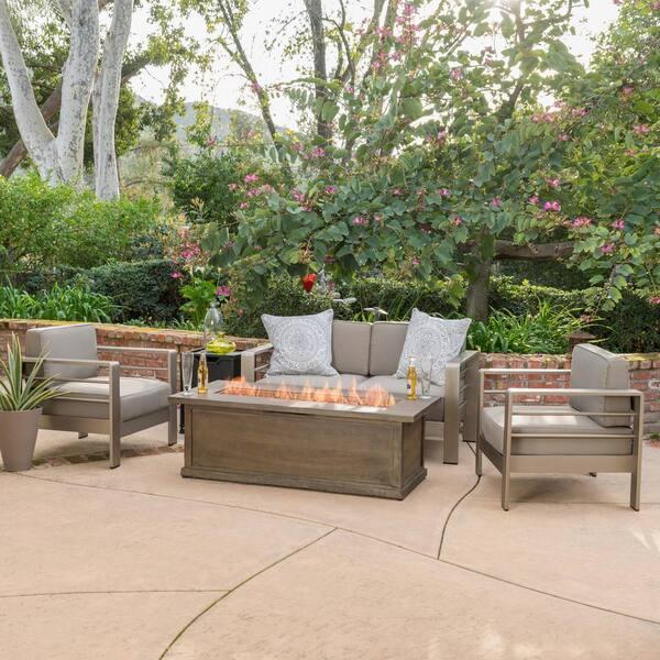 Noble House Cape Coral Khaki 5 Piece Aluminum Patio Fire Pit Conversation Set With Cushions 10025 The Home Depot