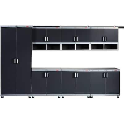 FastTrack 19-Piece Laminate Garage Storage System in Black/Silver (20 in. W x 85 in. H x 22 in. D)
