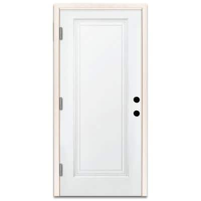 36 in. x 80 in. Premium 1-Panel Primed White Steel Prehung Front Door with 36 in. Right-Hand Outswing and 6 in. Wall