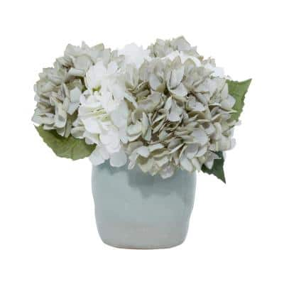 8 in. L x 11 in. H Teal and White Hydrangeas in Teal Ceramic Vase