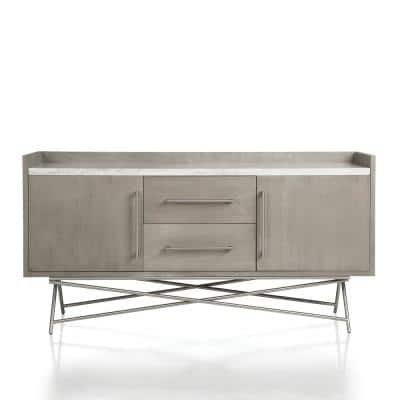Coral Antique Grey Sideboard with Natural Carrara Marble Top