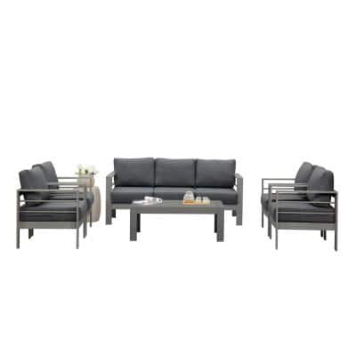 Grey 6-Piece Aluminum Patio Conversation Set with Dark Grey Cushions