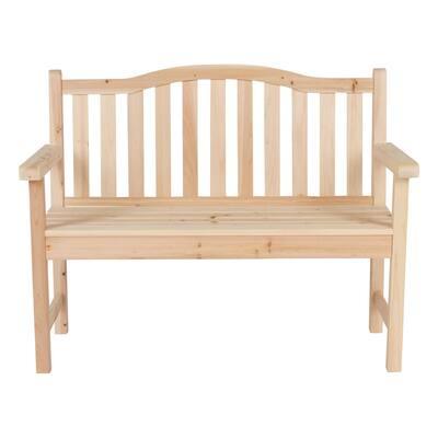 Belfort II 45 in. Natural Wood Outdoor Bench