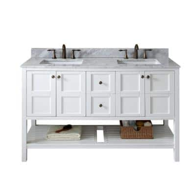 Winterfell 60 in. W Bath Vanity in White with Marble Vanity Top in White with Square Basin