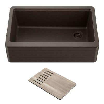 Workstation 33 Farmhouse Apron Front Granite Composite Single Bowl Kitchen Sink in Metallic Brown with Cutting Board