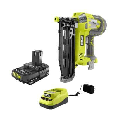 ONE+ 18V Cordless AirStrike 16-Gauge Cordless Straight Finish Nailer and 2.0 Ah Compact Battery Starter Kit