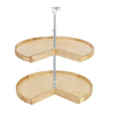 26 in. H x 24 in. W x 24 in. D Wood 2-Shelf Pie Cut Lazy Susan Set