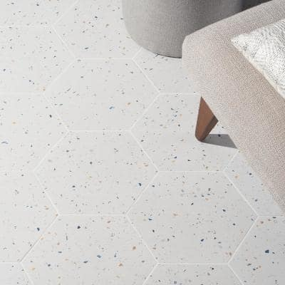 Malati White Confetti 12.5 in. x 14.5 in. Matte Porcelain Hexagon Floor and Wall Tile (10.51 sq. ft./Case)
