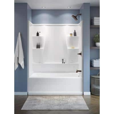 Classic 400 60. in W x 60 in. H Three Piece Direct-to-Stud Tub Surround in High Gloss White