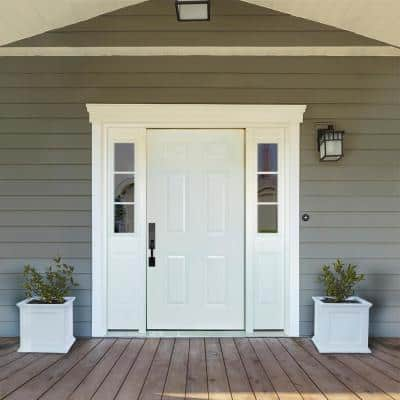 68 in. x 80 in. 6-Panel White Right-Hand 14 in. 3-Lite Sidelites Primed Steel Prehung Front Door with 6-9/16 in. Frame