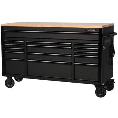 61 in. W x 23 in. D Heavy-Duty 15-Drawer Mobile Workbench with Solid Wood Top