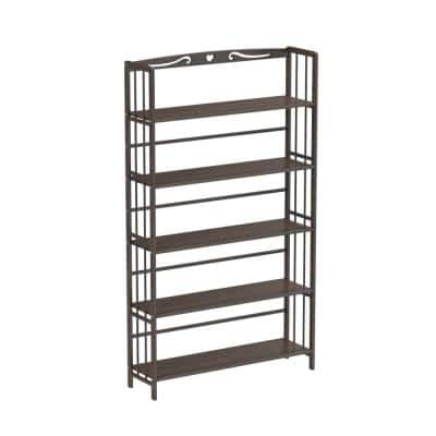 61 in. Brown Bamboo Bookshelf 5- Shelf Standard Bookcase Plant Stand with Adjustable Shelves and Open Back