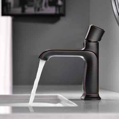 Single-Handle Single Hole Solid Brass Vanity Bathroom Faucet in Oil Rubbed Bronze