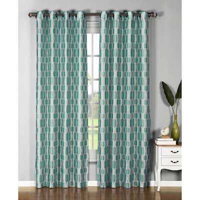Teal Geometric Faux Silk Grommet Room Darkening Curtain - 54 in. W x 96 in. L