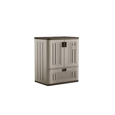 36 in. H x 30 in. W x 20 in. D 1-Shelf 1-Drawer Resin Base Storage Freestanding Cabinet in Platinum